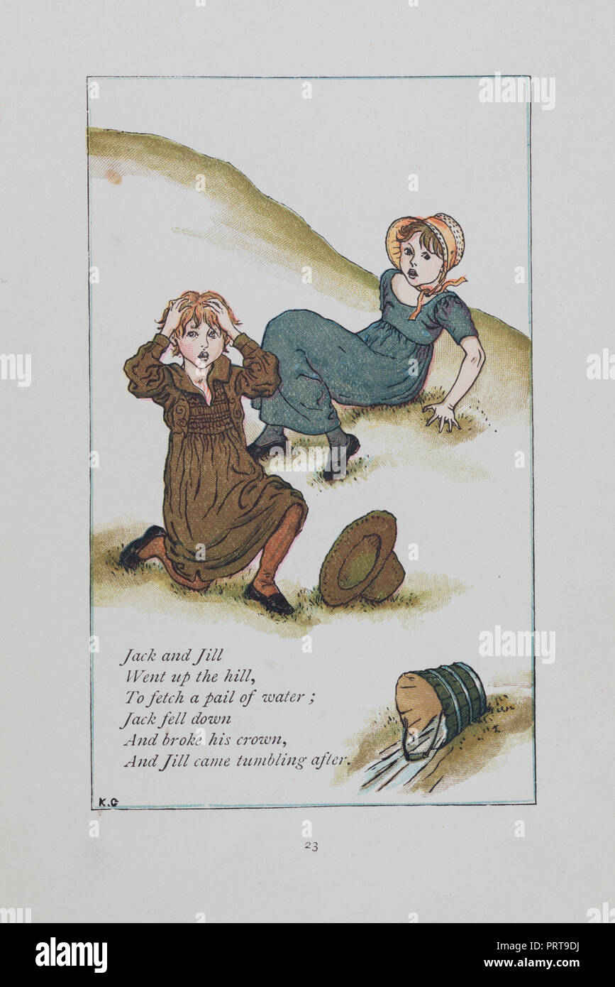 Jack and Jill traditional nursery rhyme from Mother Goose illustrated by Kate Greenaway and originally published in 1881 - Stock Image