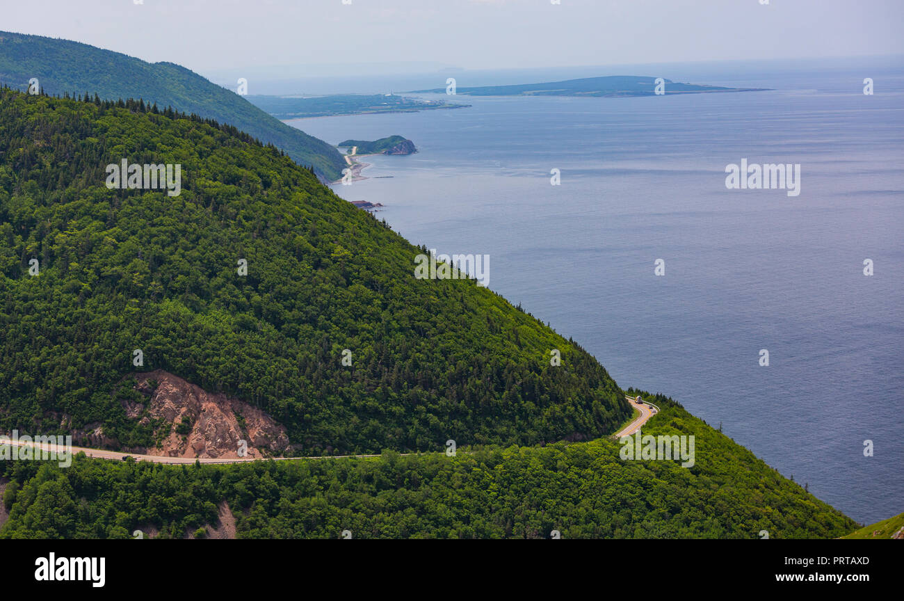 CAPE BRETON, NOVA SCOTIA, CANADA - Cabot Trail scenic highway on French Mountain, in Cape Breton Highlands National Park. - Stock Image