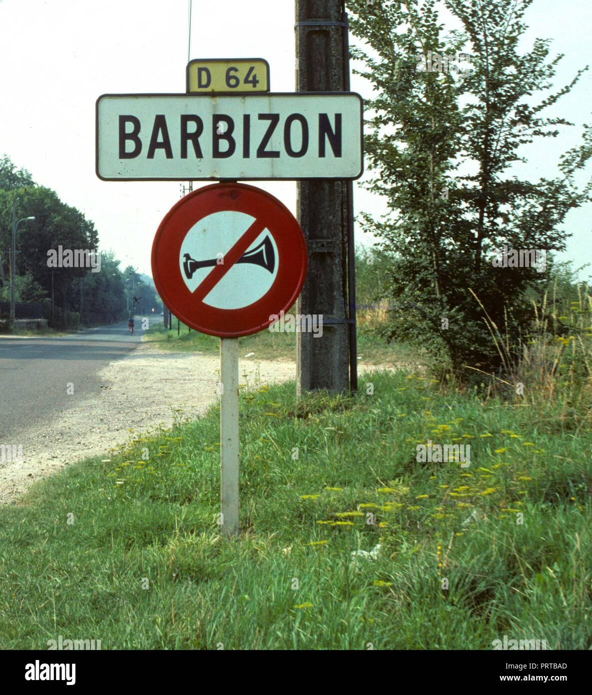 Entrance to Barbizon, village of painters, France. - Stock Image