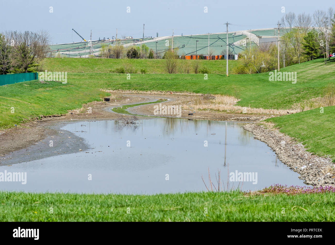 Water retention and landfill in suburban St Louis - Stock Image