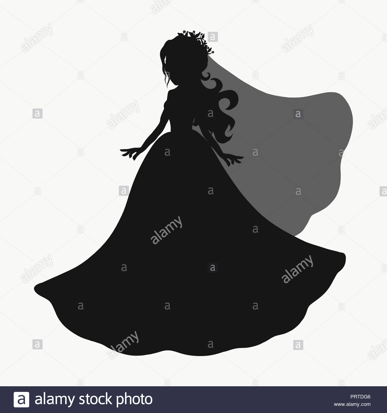 Silhouette of a beautiful bride in a dress with a veil Stock Photo