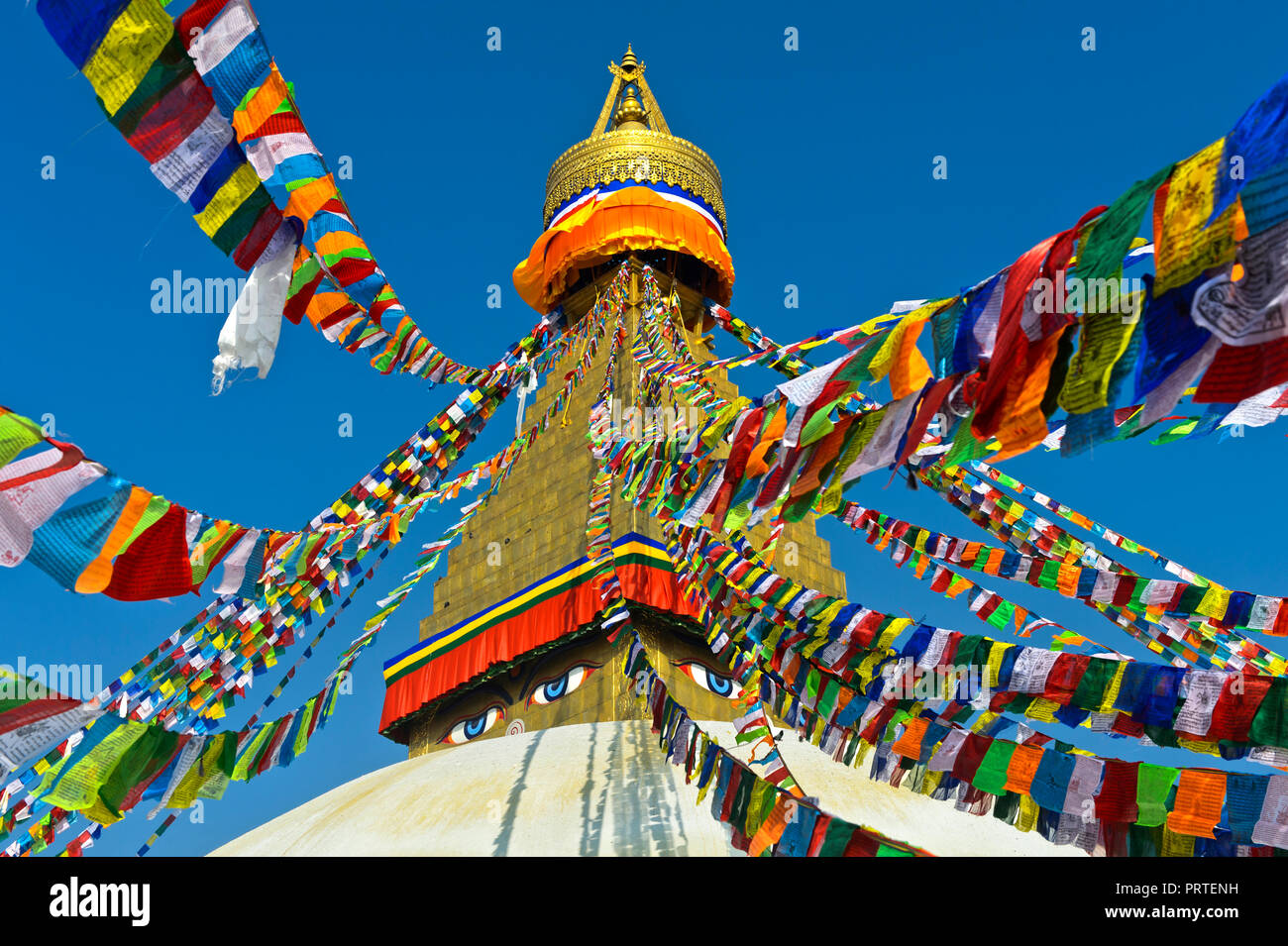 Prayer flags at the Boudhanath Stupa, Kathmandu, Nepal - Stock Image