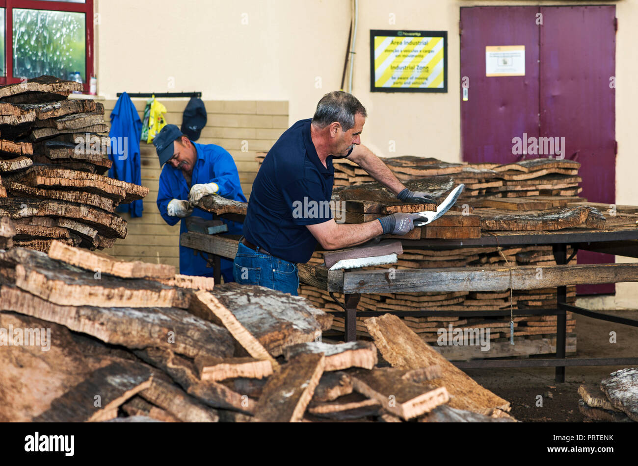 Bark of the cork oak (Quercus suber) is cut manually for further processing,  Cork factory Nova Cortica, Sao Bras de Alportel, Algarve, Portugal - Stock Image