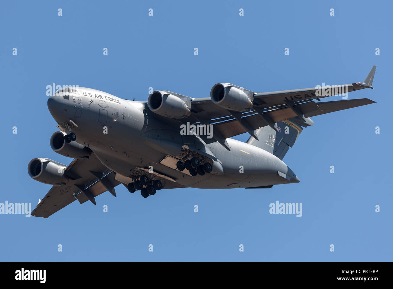 United States Air Force (USAF) Boeing C-17A Globemaster III military transport aircraft 05-5153 from the 535th Airlift Squadron, 15th Airlift Wing bas - Stock Image