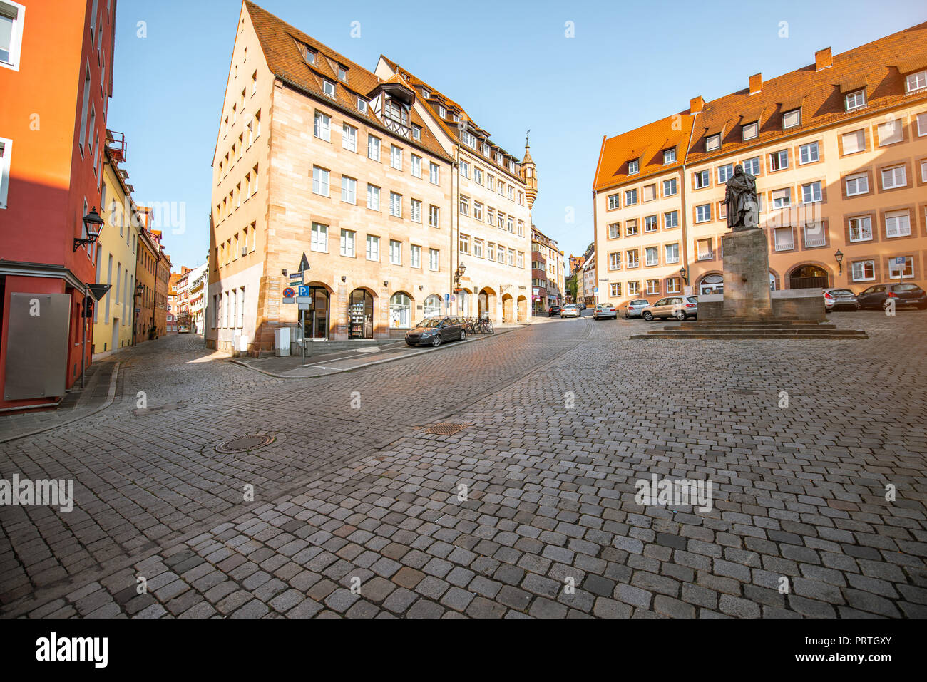 View on the central square with Albrecht Durer monument in the old town of Nurnberg, Germany - Stock Image