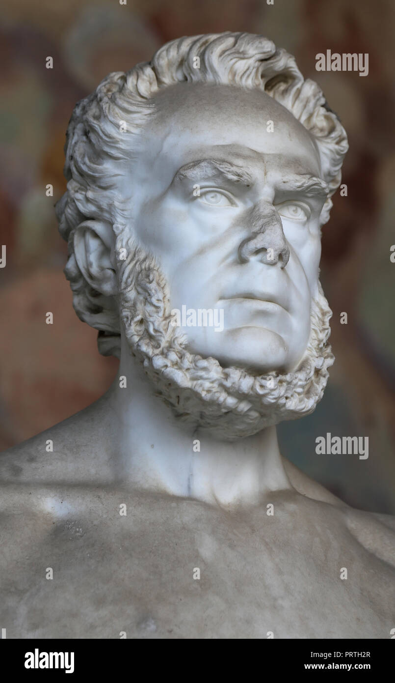 Carlo Matteucci (1811-1868). Italian physcist and neurophysiologist .Pionner in the study of bioelectricity. Statue. Pisa. Italy. - Stock Image