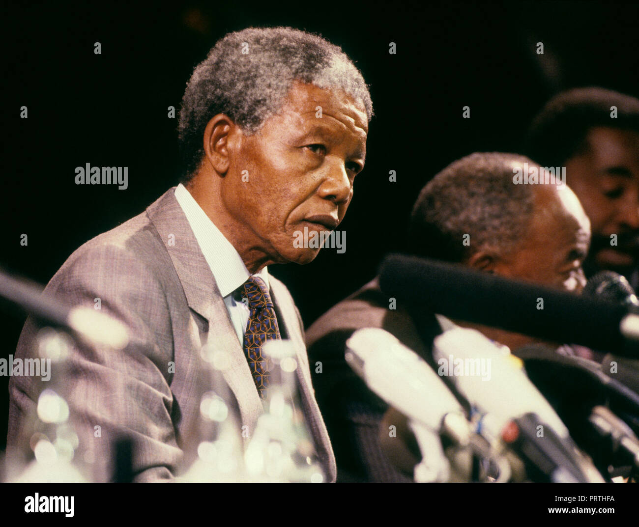 NELSON MANDELA ANC and South Africa leader in Stockholm for meeting with Swedish leader 1990 - Stock Image
