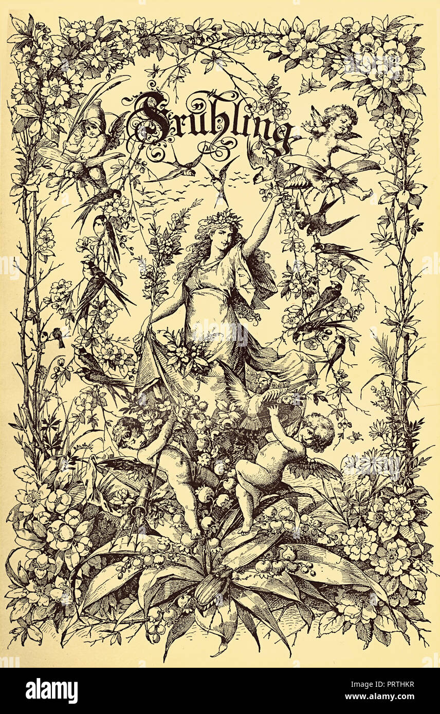 Beautiful vintage frontispiece chapter decoration dedicated to the spring season with Fruehling written in old German characters, then putti,floral goddess,flowers and birds - Stock Image