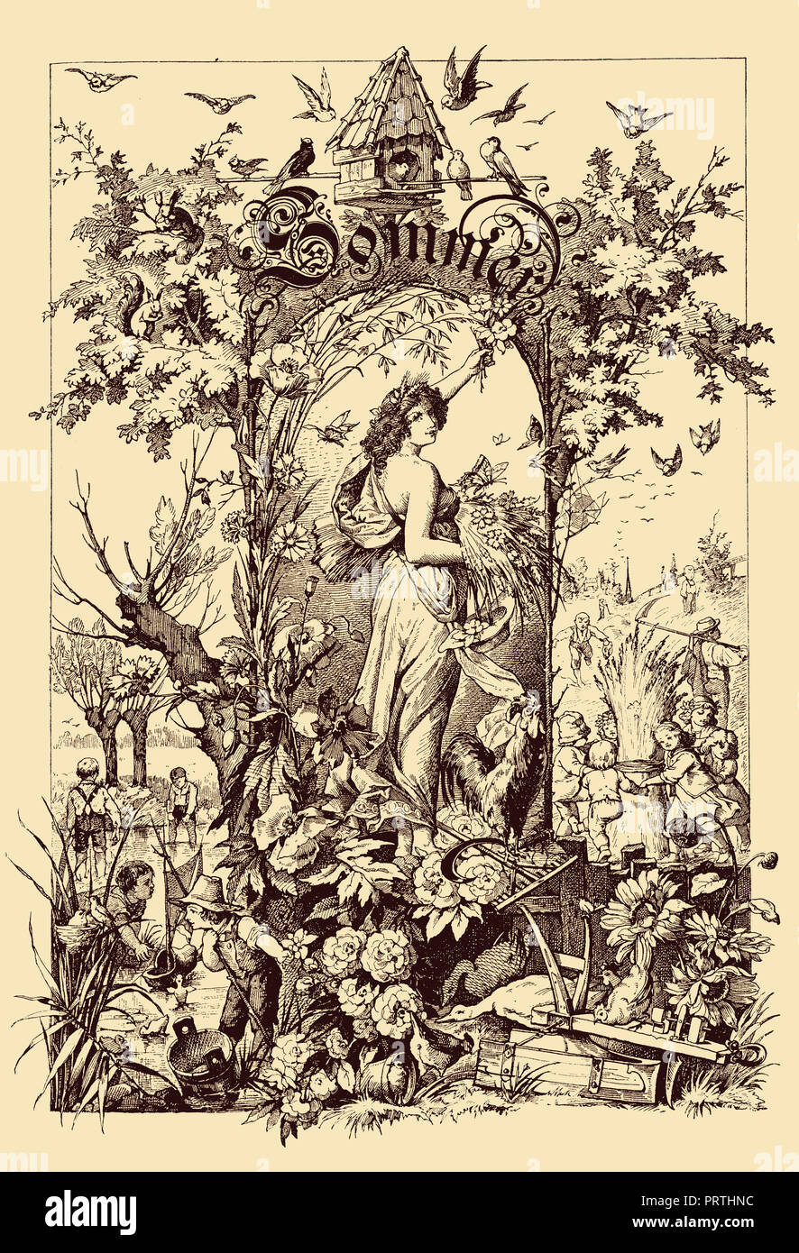 Beautiful vintage frontispiece chapter decoration dedicated to the summer season with Sommer written in old German characters, then kids playing in the fields, a goddess,flowers and birds - Stock Image