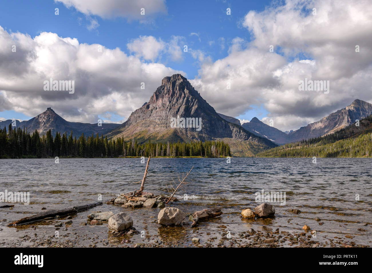 Two Medicine Lake overlooked by Sinopah Mountain, Glacier National Park, Montana - Stock Image