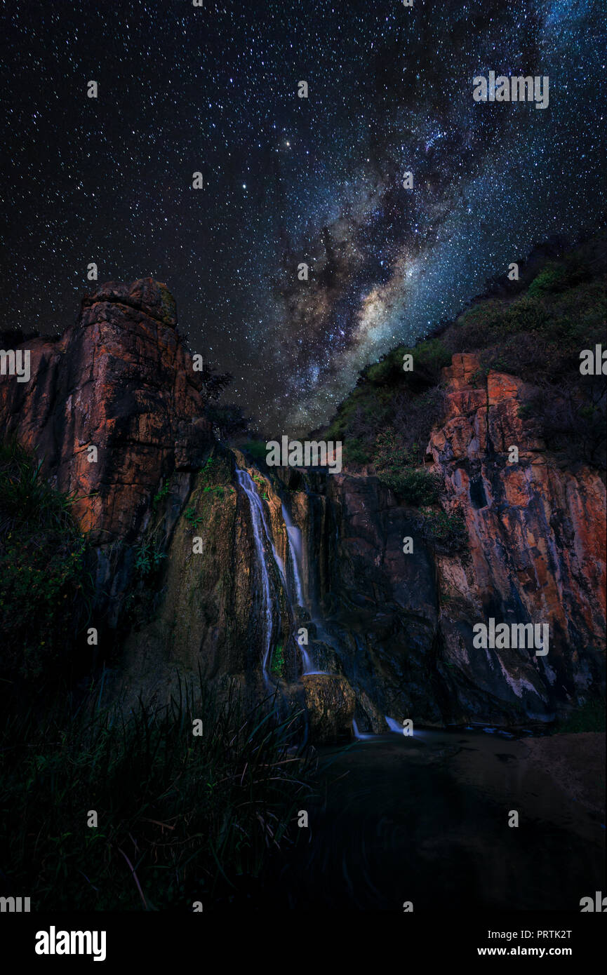 Quinninup Falls At Night - Stock Image
