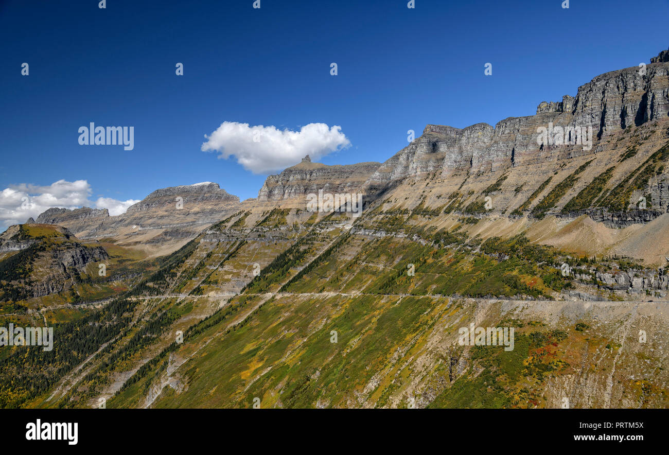 The spectacular Going to the Sun road, Glacier National Park, Montana - Stock Image