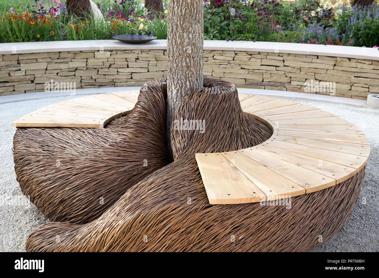 Super Wooden Circular Garden Bench Stock Photos Wooden Circular Creativecarmelina Interior Chair Design Creativecarmelinacom