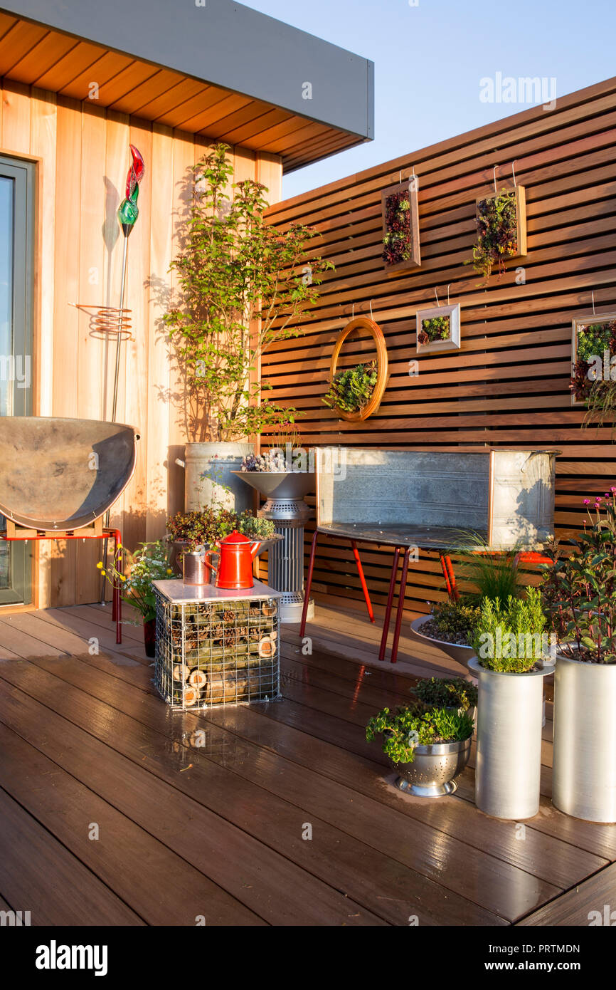 Balcony garden, decking, repurposed recycled furniture and containers filled with succulents and herbs. insect hotel coffee table, Sempervivum plants  - Stock Image