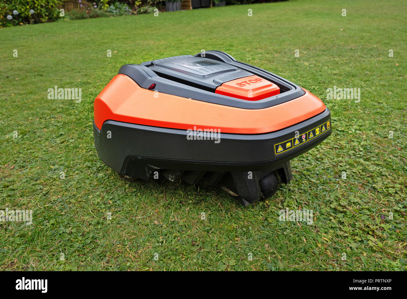 Hi Tech Robot completely Automatic lawn mower Stock Photo