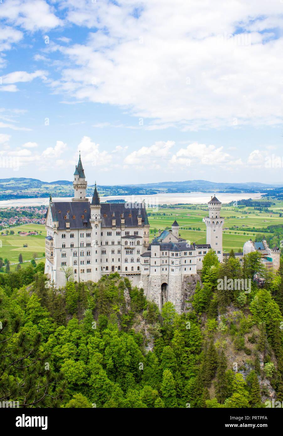 Schwangau, Germany - 05/12/2018: Neuschwanstein Castle - Stock Image