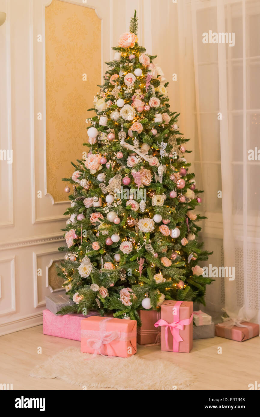 Pastel Christmas Elegant Christmas Tree With Decorations And Gifts On Elegant Hardwood Floor Pink Christmas Gift