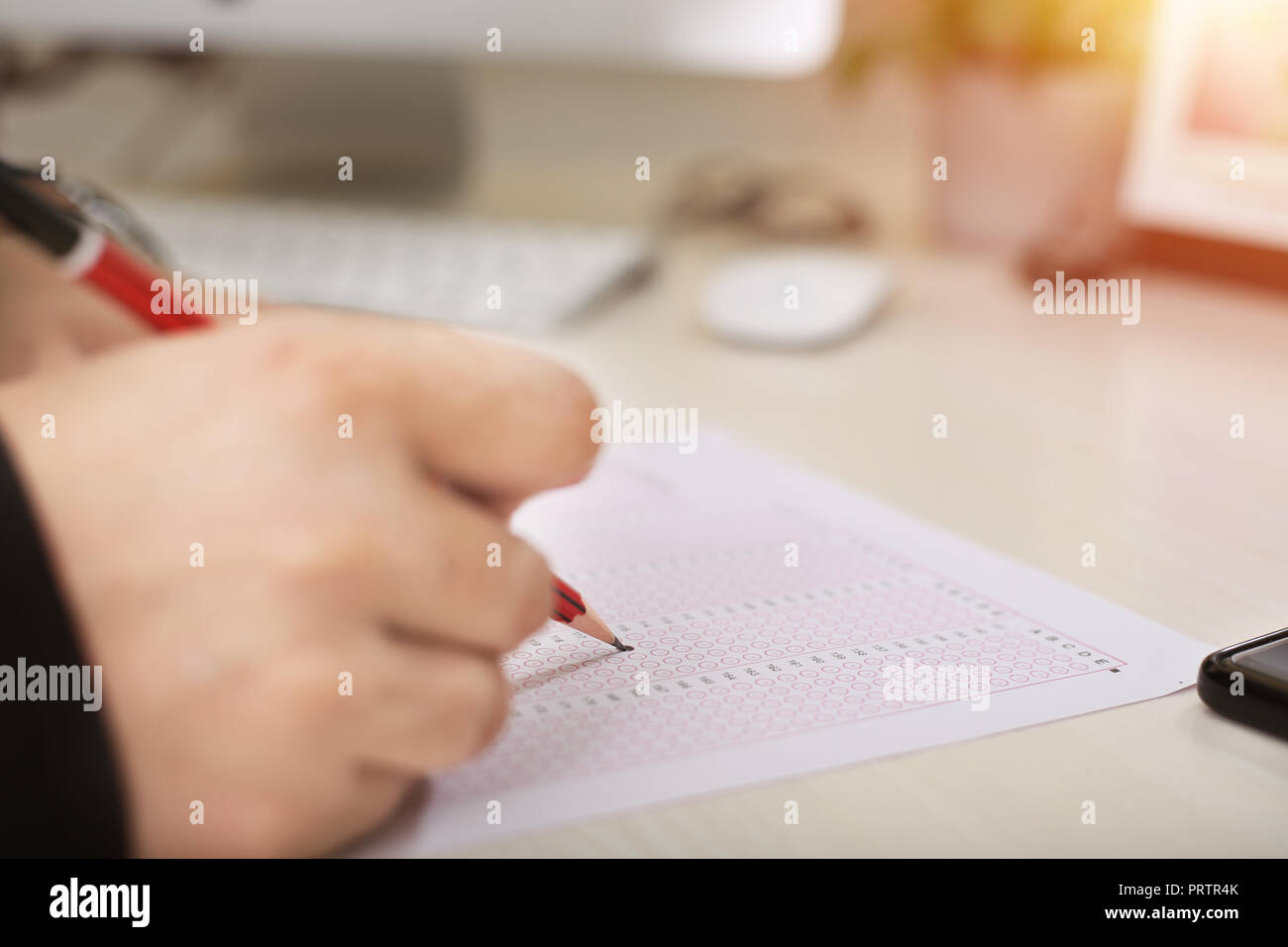 Picture of omr sheet with pencil. - Stock Image