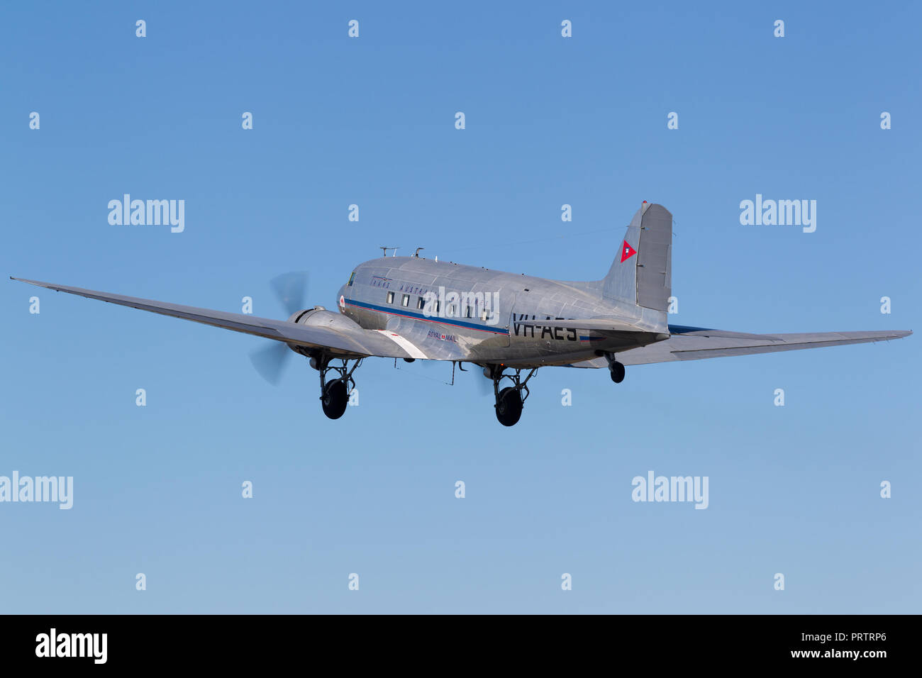 Vintage Douglas DC-3C airliner VH-AES in Trans Australian Airlines livery. - Stock Image
