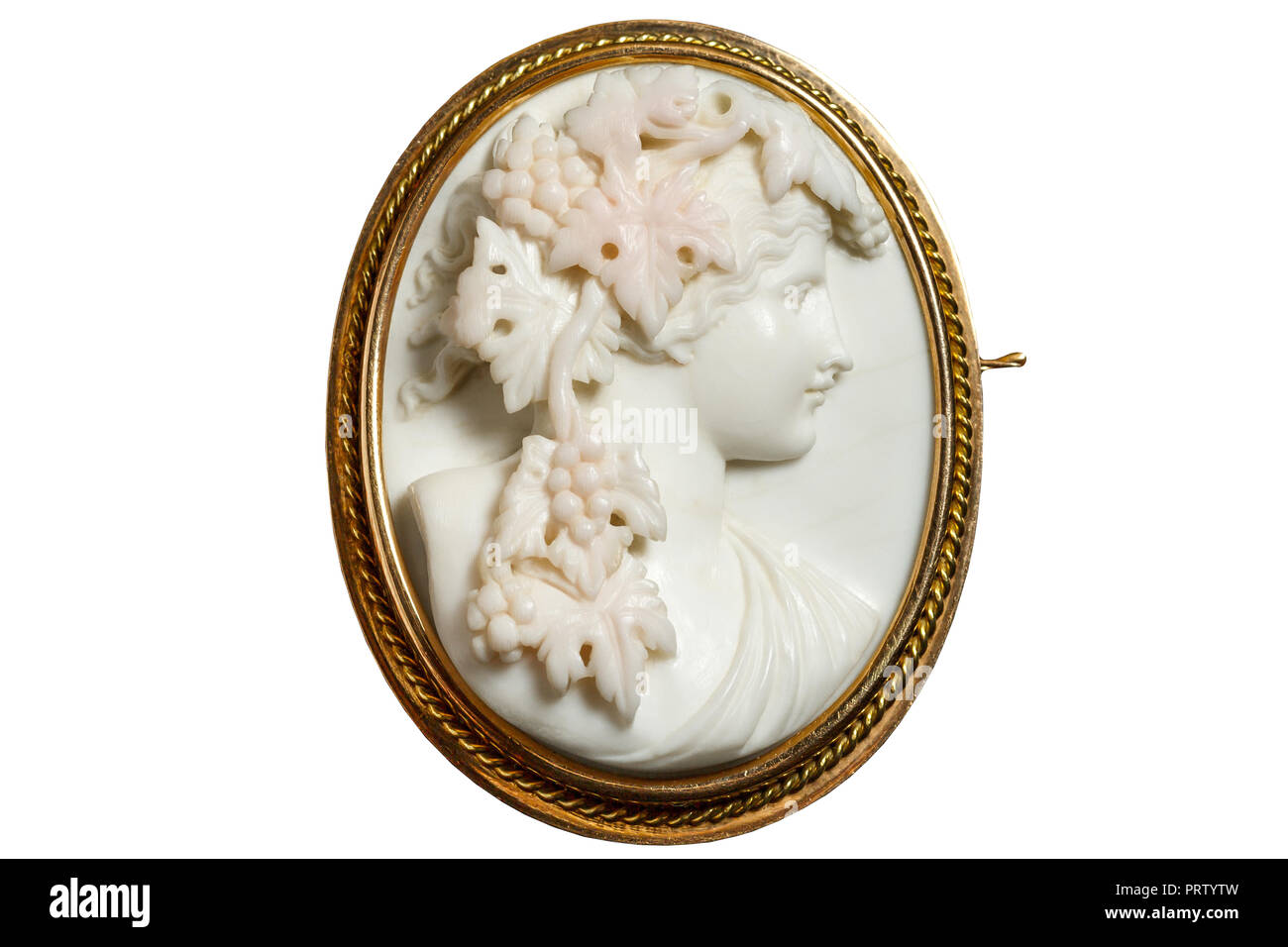 Gold vintage brooch with a woman's face in profile. White background - Stock Image