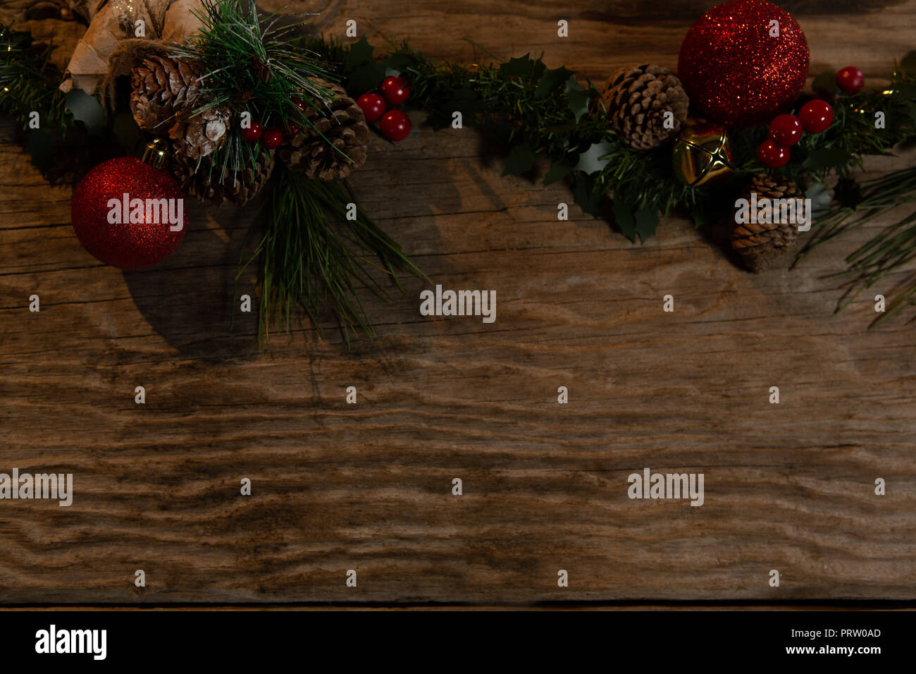 Copy Space With Rustic Christmas Garland Stock Photo 221210597 Alamy