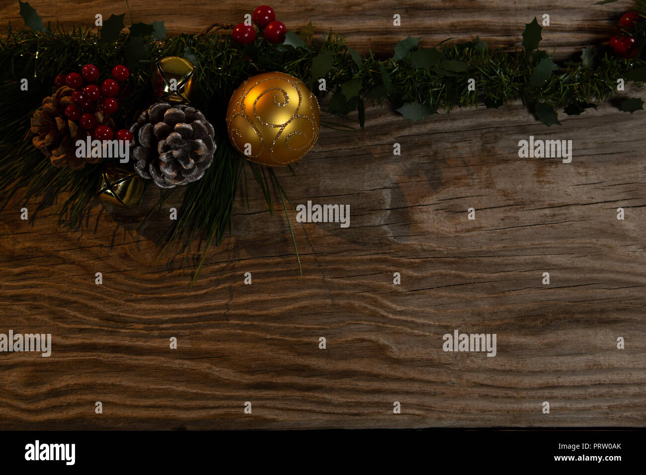 Rustic Christmas Garland For Copy Space Stock Photo Alamy