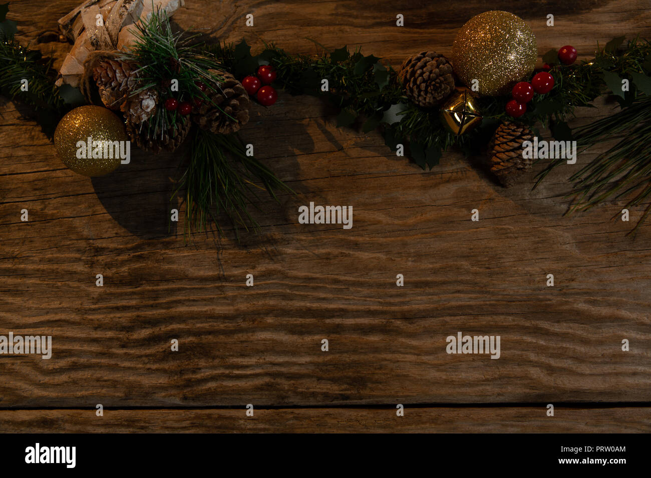Rustic Christmas Garland For Copy Space Stock Photo 221210604 Alamy