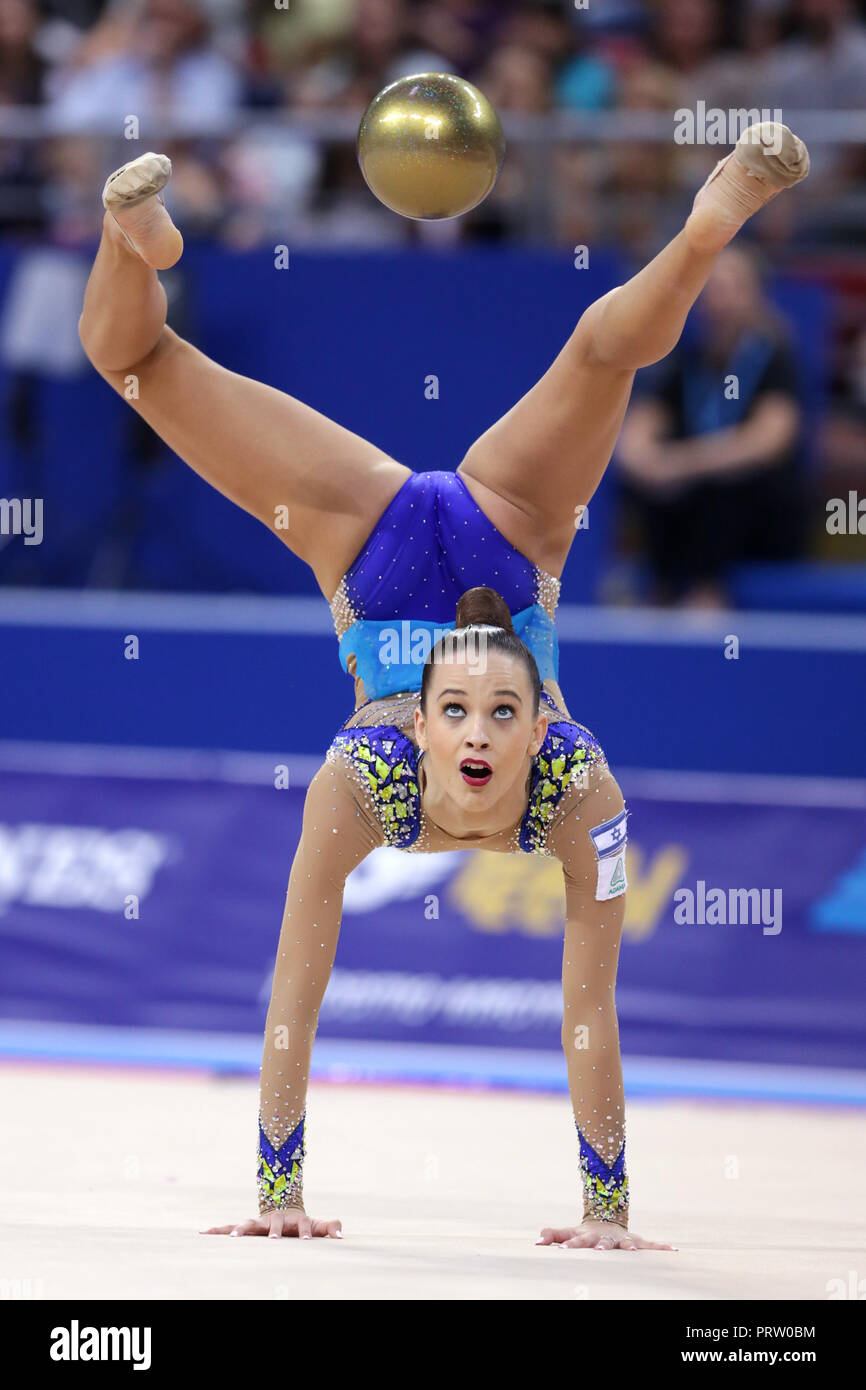 Sofia, Bulgaria - 14 September, 2018: Nicol ZELIKMAN from Israel performs with ball during The 2018 Rhythmic Gymnastics World Championships. Individua - Stock Image