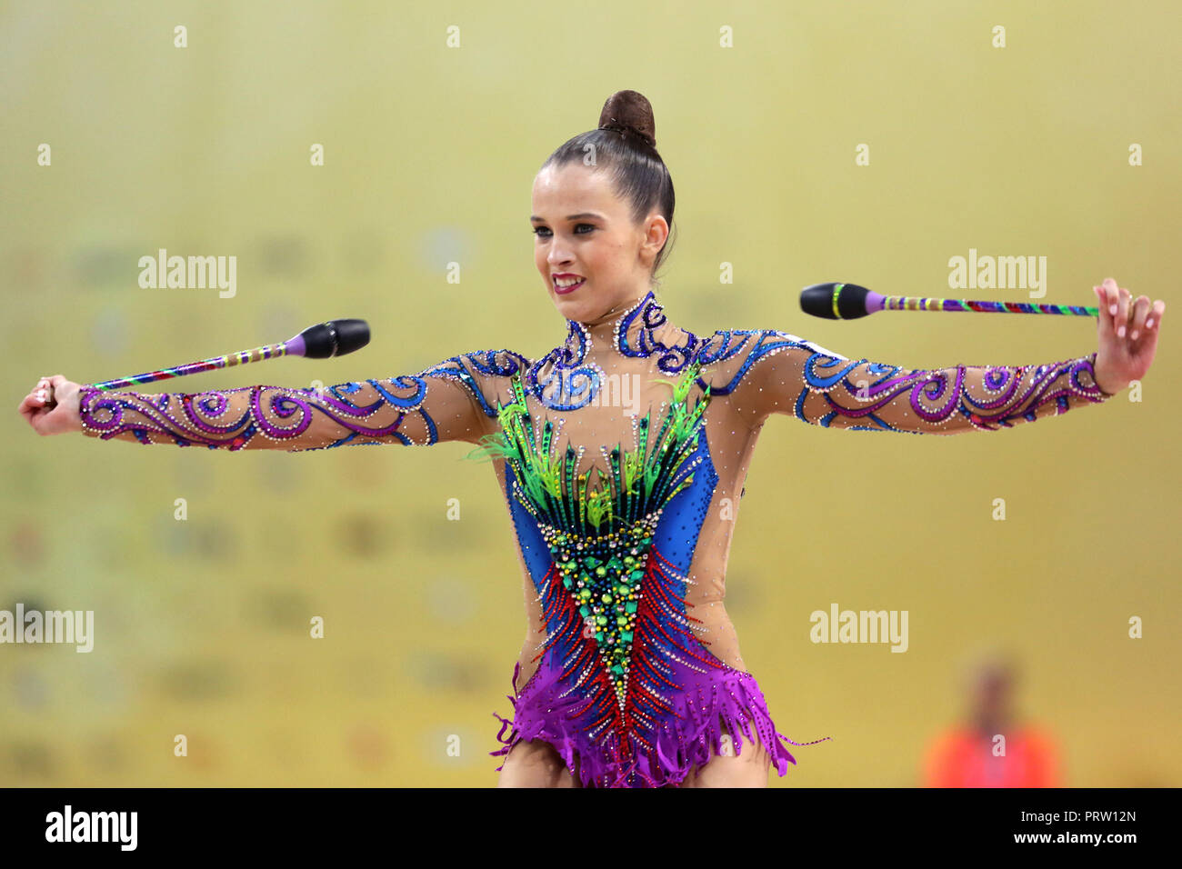 Sofia, Bulgaria - 14 September, 2018: Nicol ZELIKMAN from Israel performs with clubs during The 2018 Rhythmic Gymnastics World Championships. Individu - Stock Image