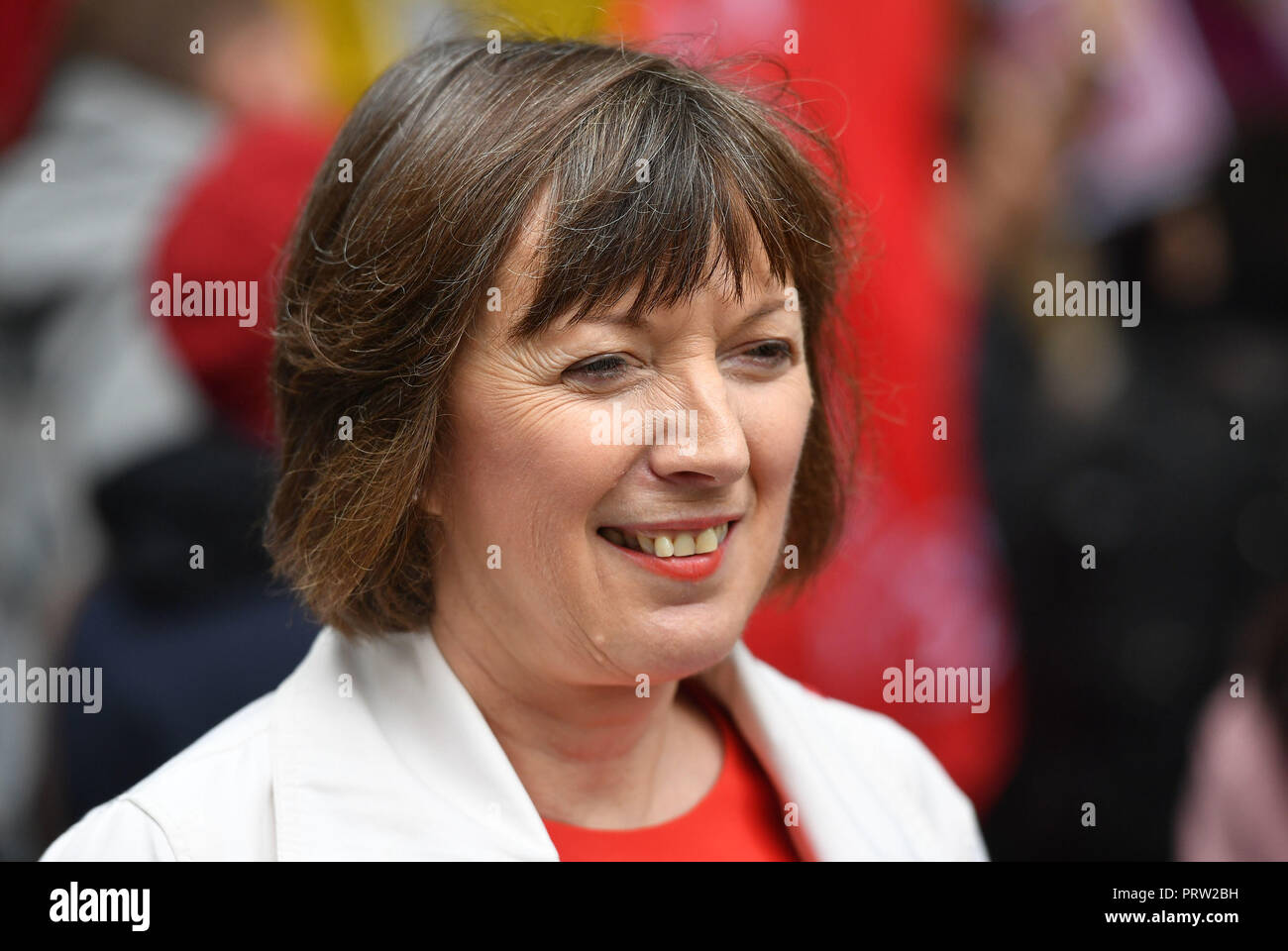 TUC General Secretary Frances O'Grady at a rally about disputes over pay and union recognition in Leicester Square, London. - Stock Image