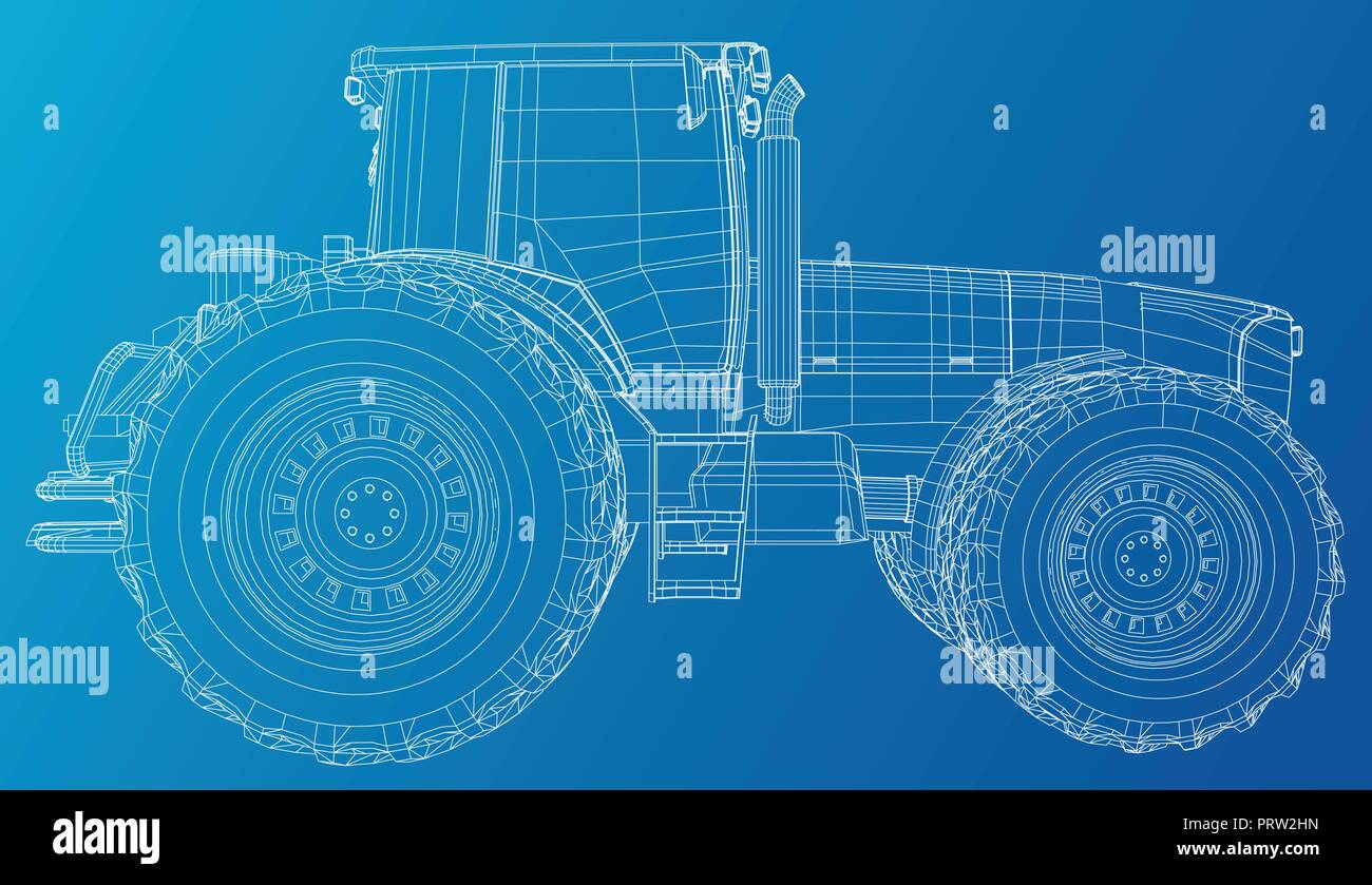 Old Farm Machinery Stock Vector Images Alamy Belarus Tractor Wiring Diagram Side View Wire Frame Tracing Illustration Of 3d Eps 10