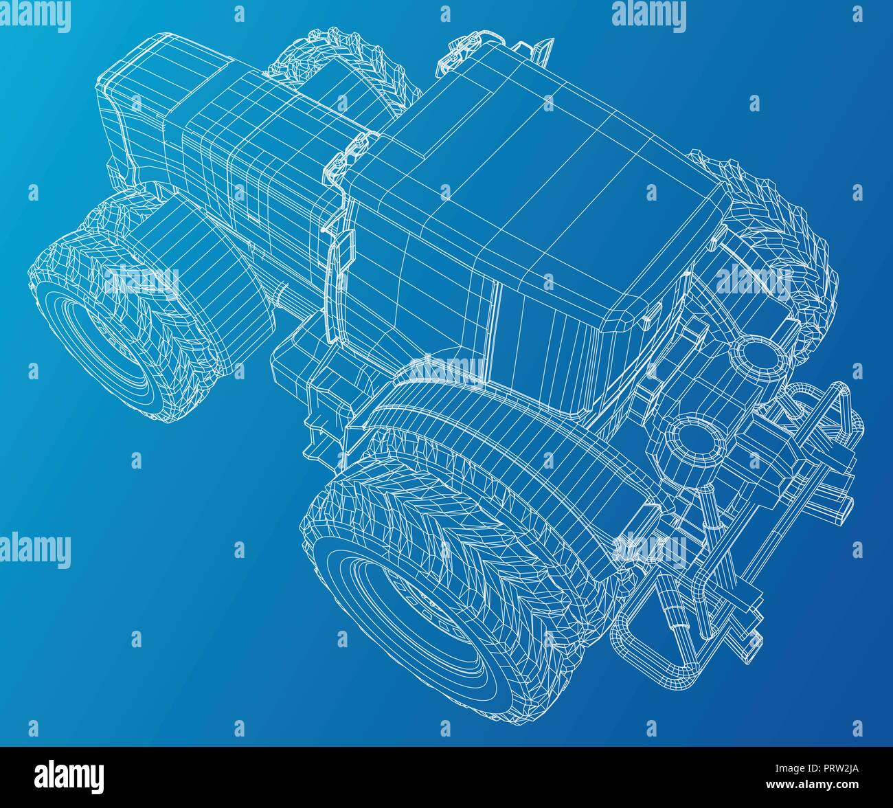 Old Farm Machinery Stock Vector Images Alamy Belarus Tractor Wiring Diagram Wire Frame Tracing Illustration Of 3d Eps 10