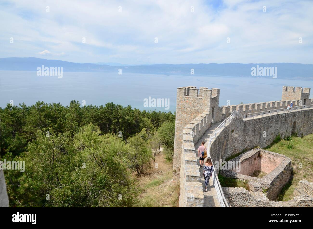 ohrid castle macedonia with view over lake ohrid and distant albania - Stock Image
