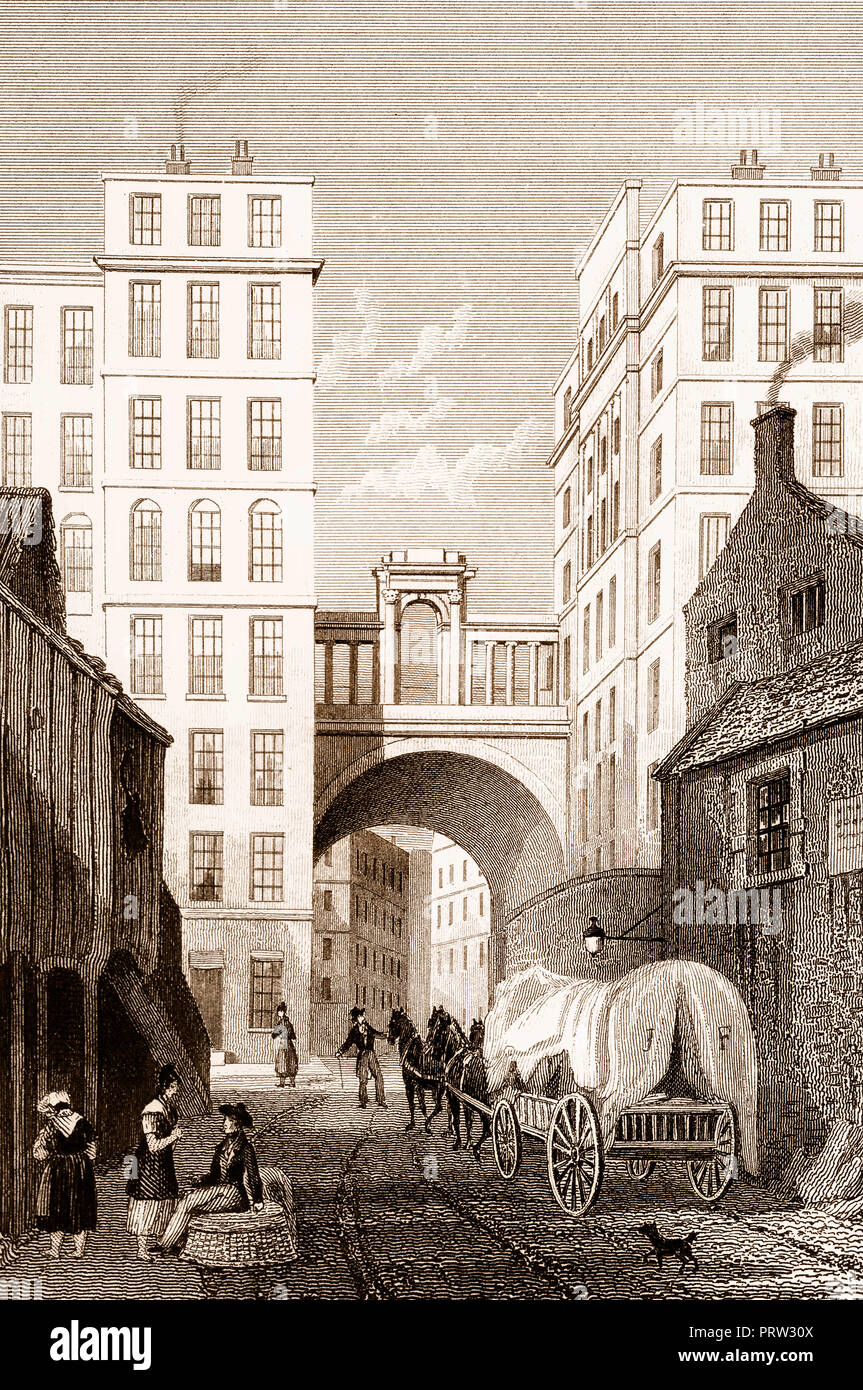 The Regent Bridge, Edinburgh, Scotland, 19th century, from Modern Athens by Th. H. Shepherd - Stock Image