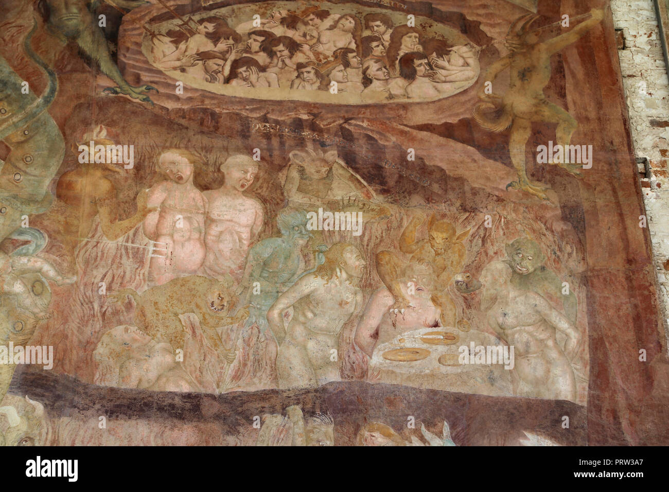 Buonamico Buffalmacco. The Triumph of Death. Detail 'The Hell'. Torments. 1338-39. Camposanto. Pisa. Italy. - Stock Image