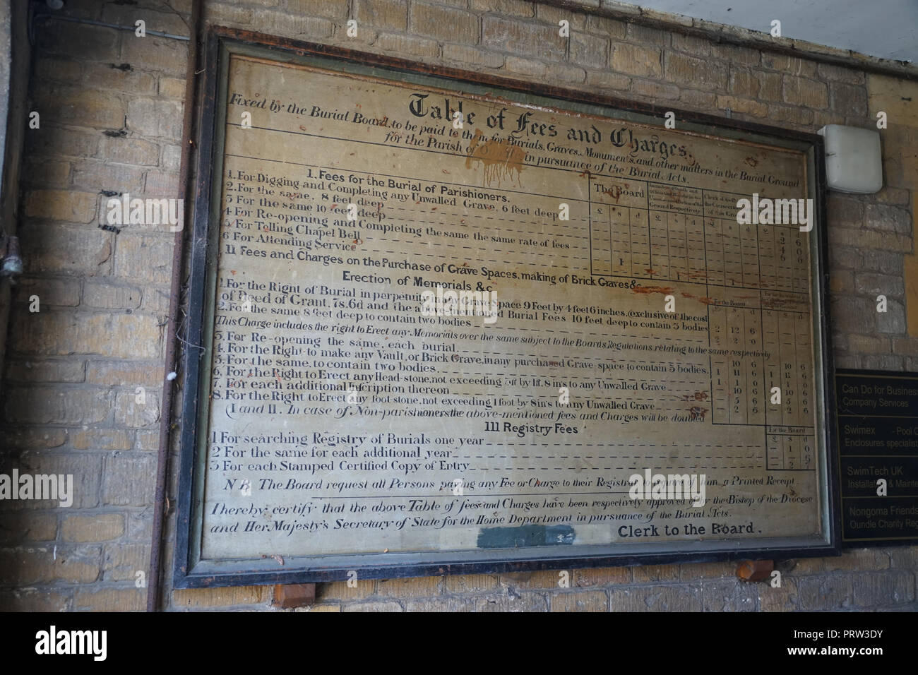 Table of Burial Fees and Charges at Oundle Museum - Stock Image