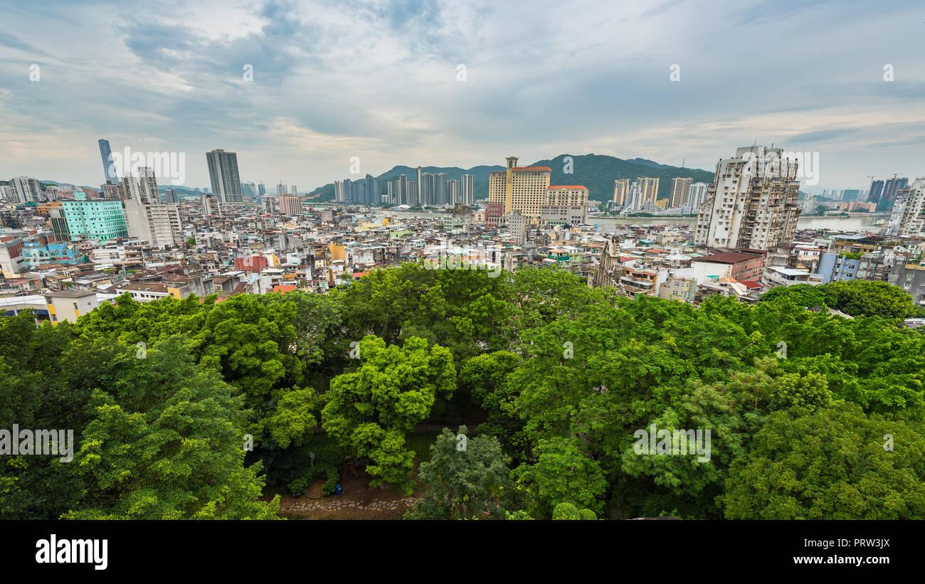 FORTALEZA DO MONTE, MACAU, CHINA - AUG. 2, 2017 : Scenic of Macau residential area view from Fortaleza do Monte. - Stock Image