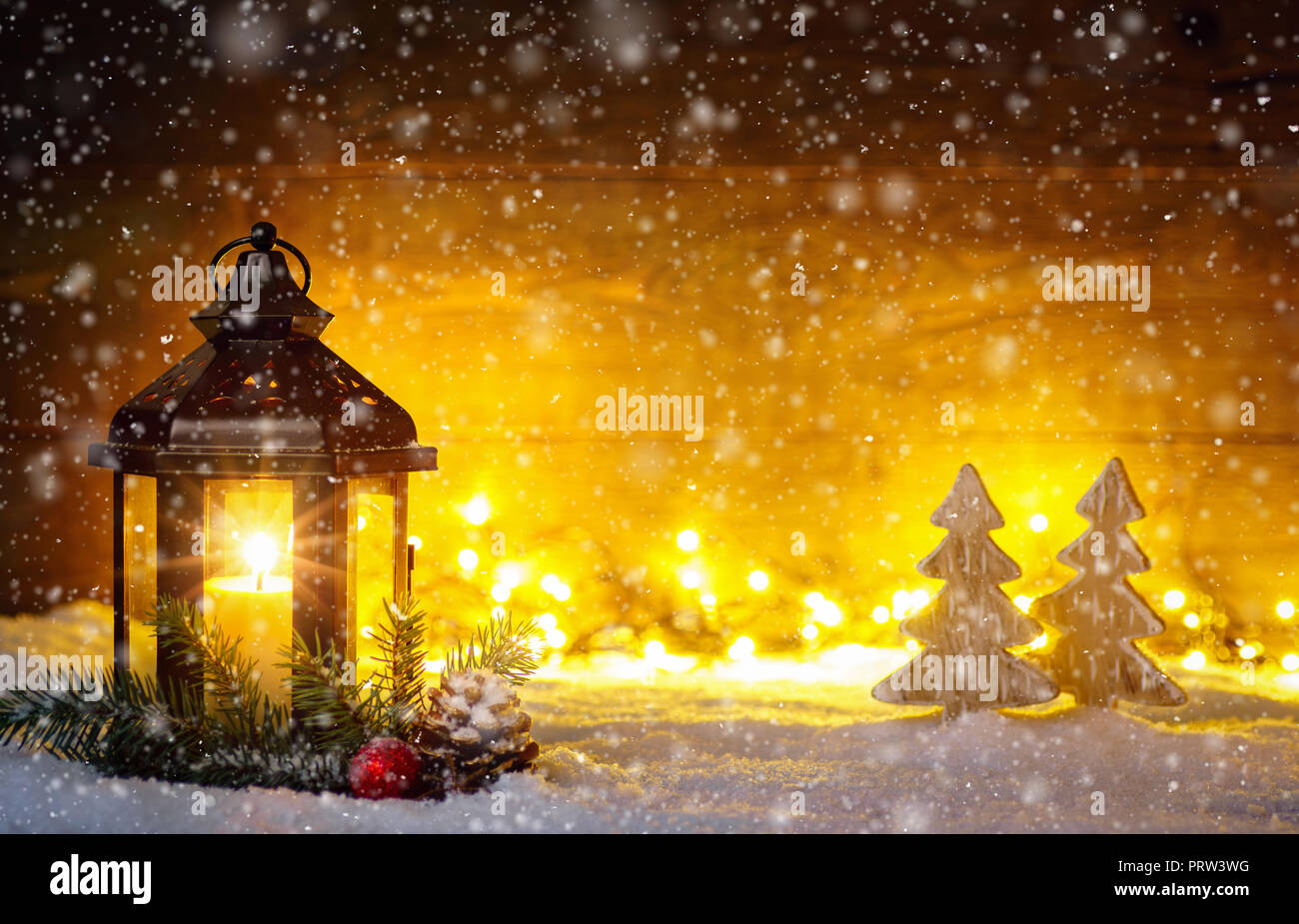 Christmas Scene With A Lantern Trees Fir Branch Snow
