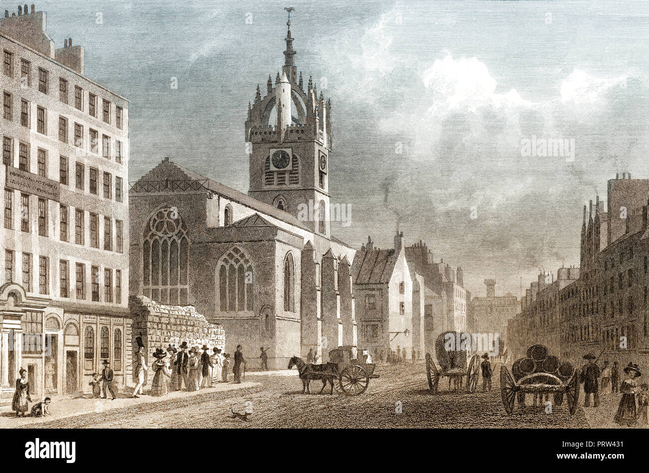 St Giles' Church, looking West, Edinburgh, Scotland, 19th century, from Modern Athens by Th. H. Shepherd - Stock Image