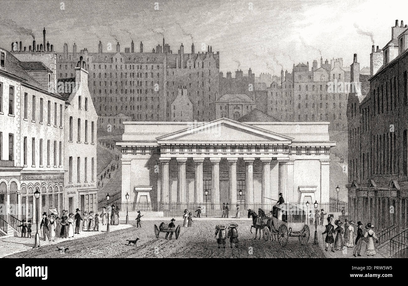 Royal Institution, from Hanover Street, Edinburgh, Scotland, 19th century, from Modern Athens by Th. H. Shepherd - Stock Image