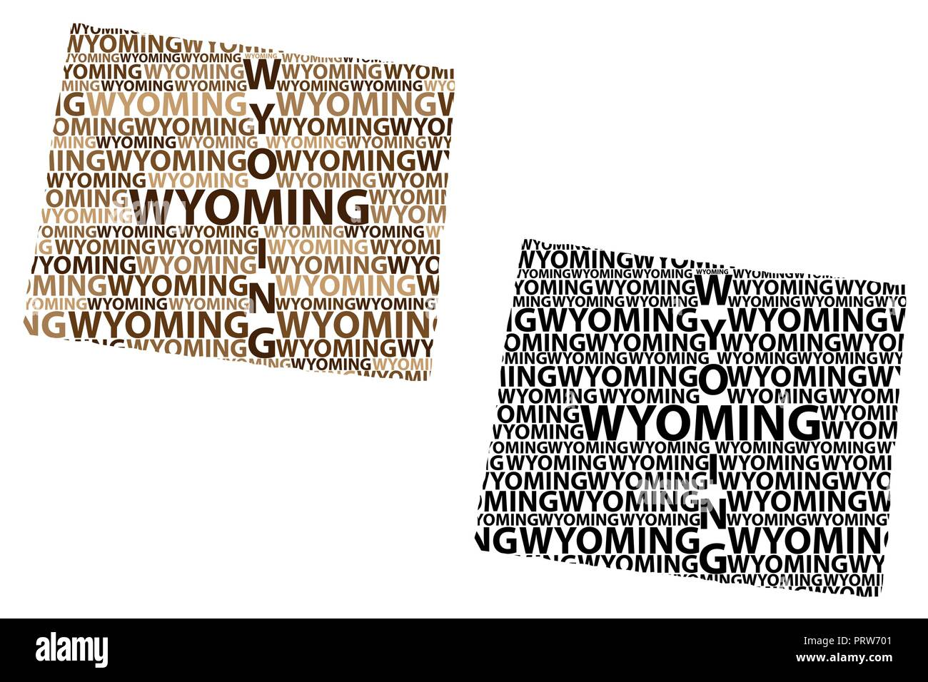 Sketch Wyoming (United States of America) letter text map, Wyoming