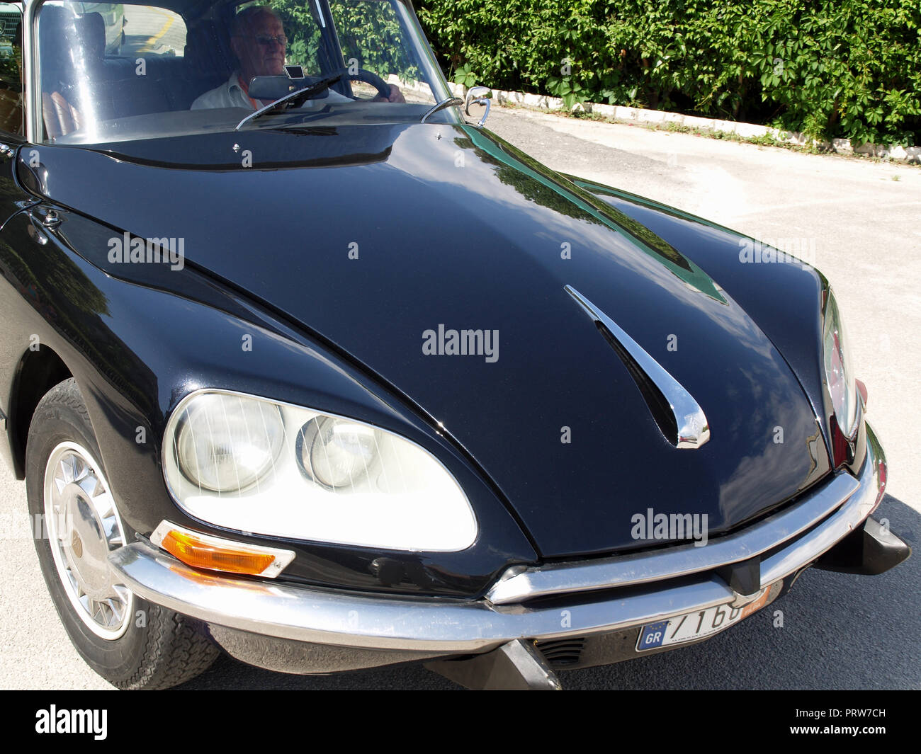 Vintage Citroen DS Pallas on display at the 8th Hellenic Bulgarian LEKAM classic car rally at the Acharavi Park Hotel, Acharavi, Corfu, Greece - Stock Image