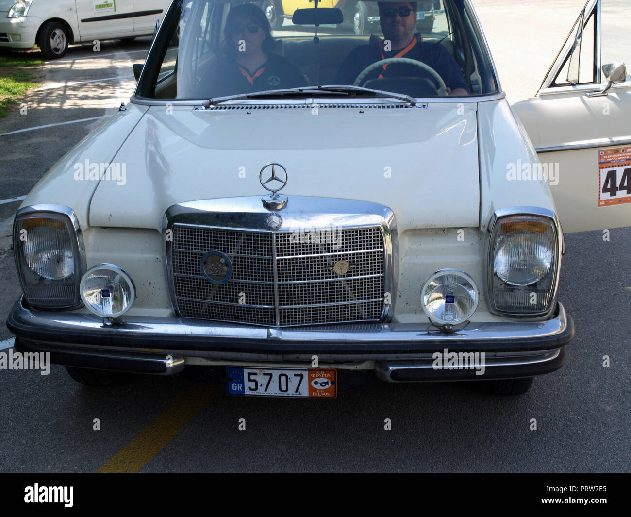 Vintage Mercedes on display at the 8th Hellenic Bulgarian LEKAM classic car rally at the Acharavi Park Hotel, Acharavi, Corfu, Greece - Stock Image