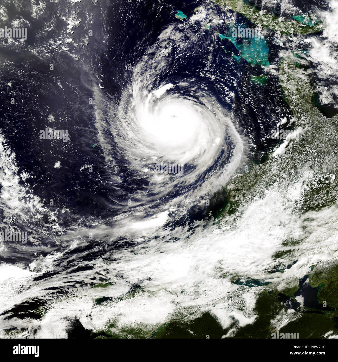 Typhoon in America. Satellite view. Elements of this image furnished by NASA - Stock Image