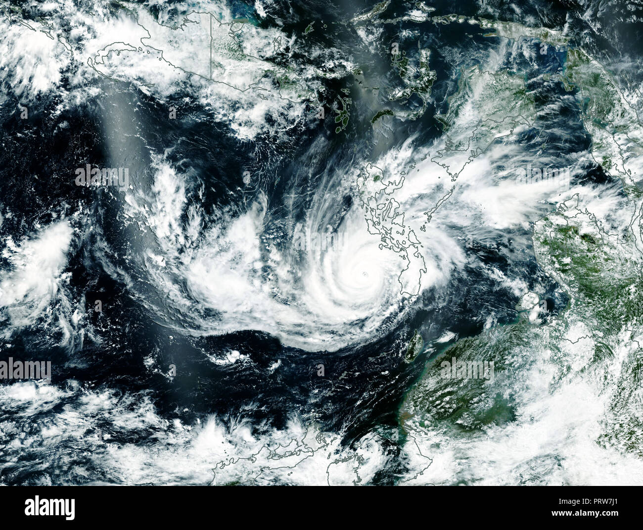 Typhoon in Asia. Satellite view. Elements of this image furnished by NASA - Stock Image