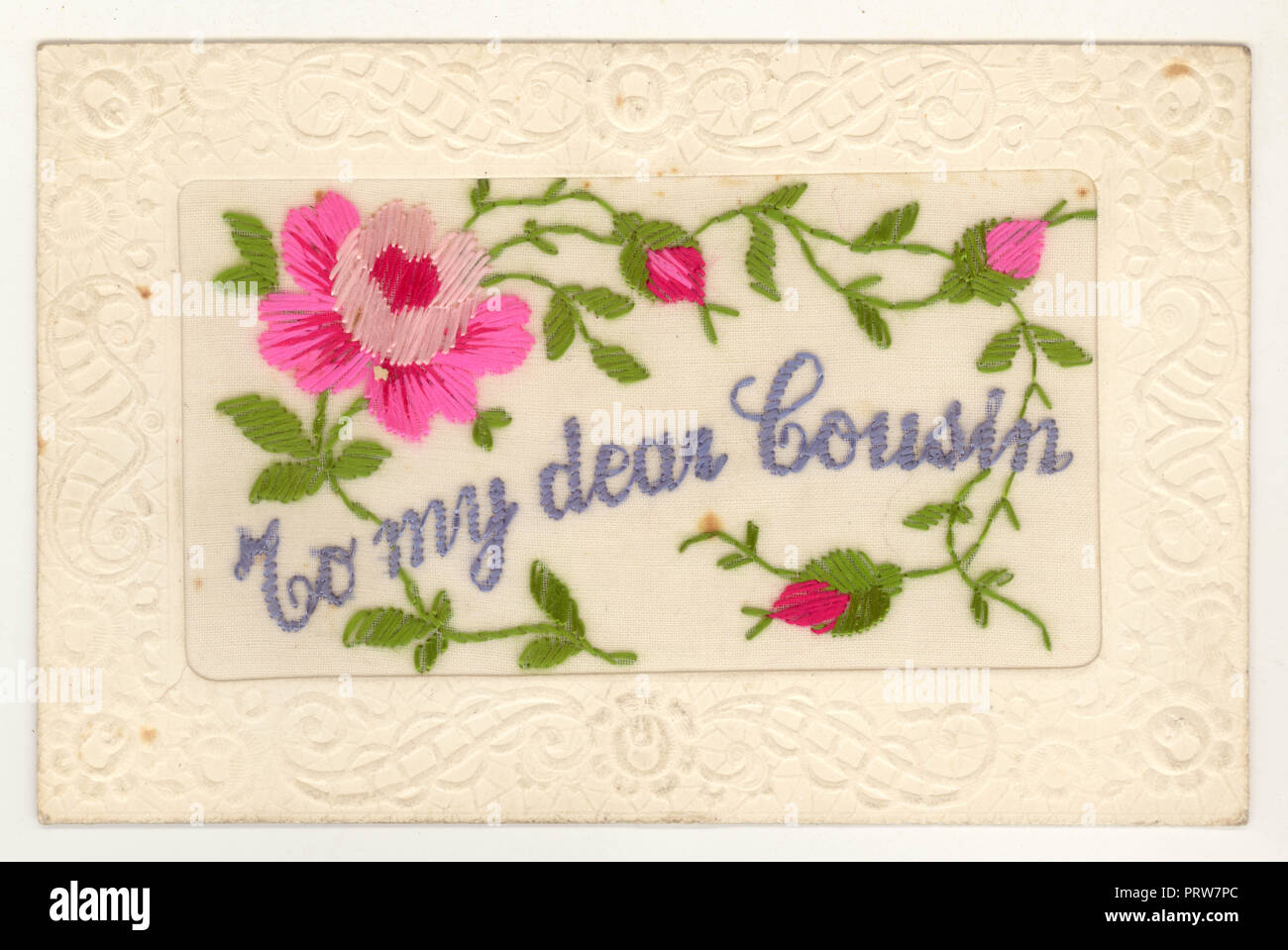 WW1 era embroidered silk postcard - To my dear cousin, 18 Dec 1916, posted from France - Stock Image