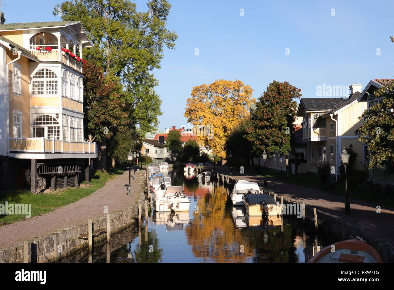 Boating in coastal Trosa Town Centre on the East Coast, south of Stockholm, Sweden. A popular tourist resort and film location. - Stock Image