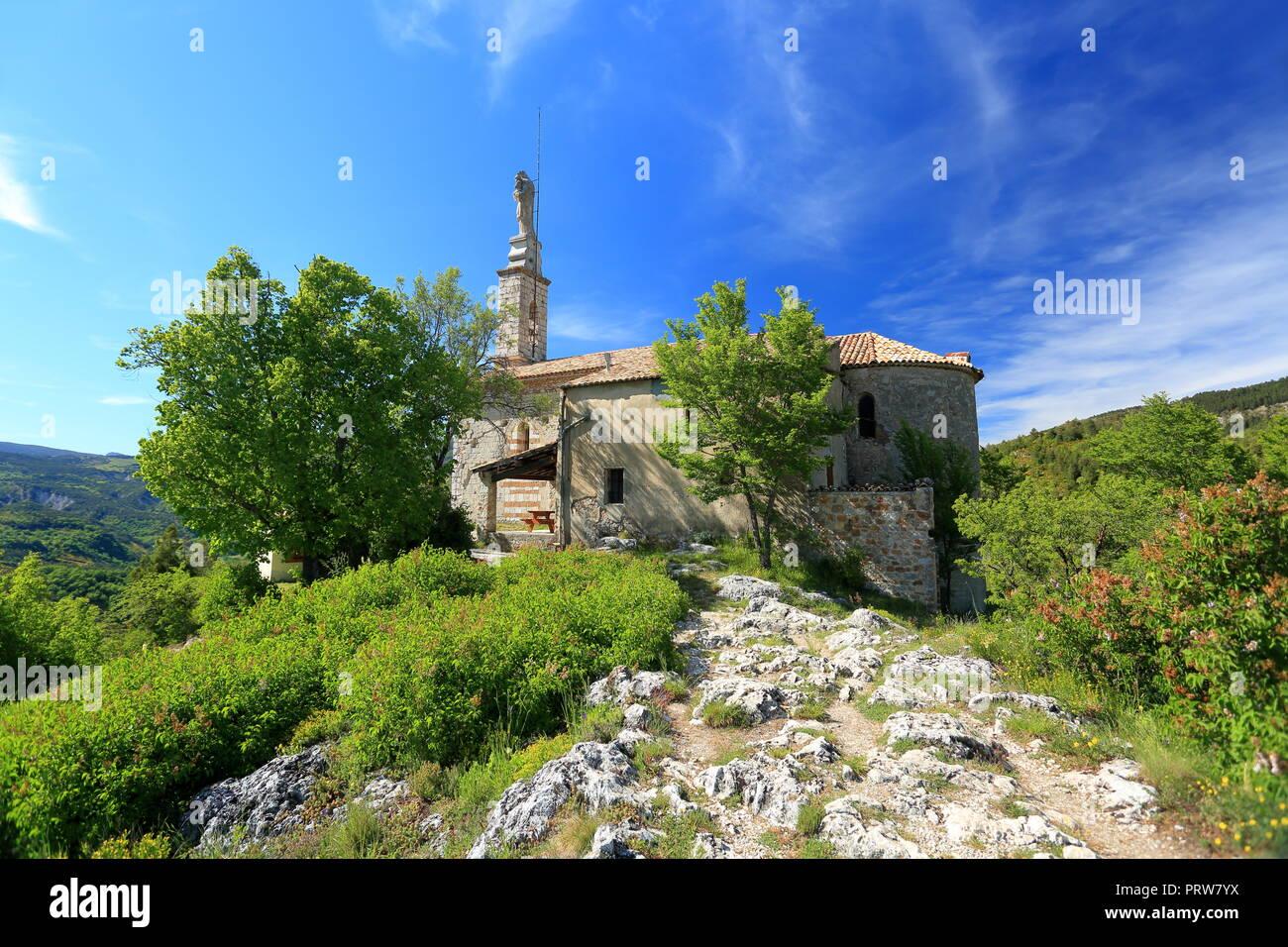 Notre Dame du Roc church, Castellane, Parc regional du Verdon, Alpes de Haute Provence, 04, PACA, - Stock Image