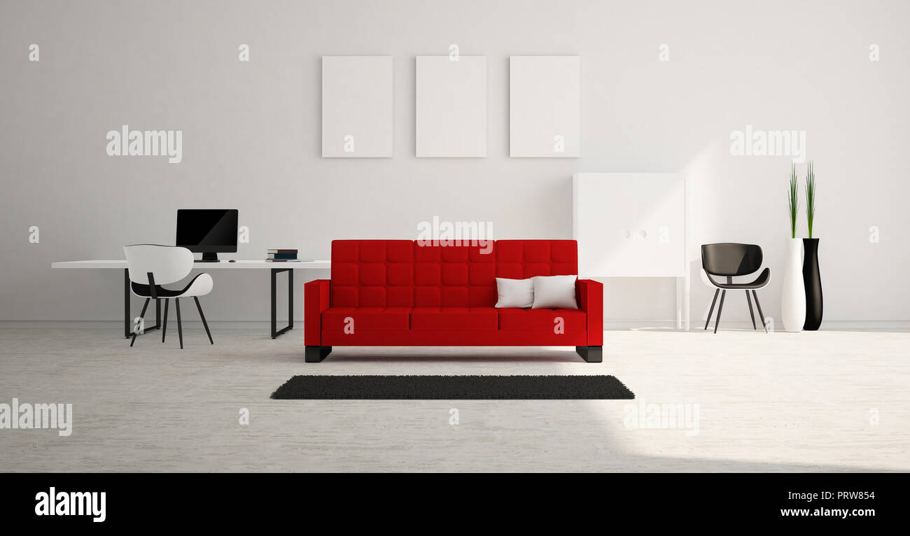 Modern and minimalist bright interior of living room with red sofa and white furniture 3d rendering