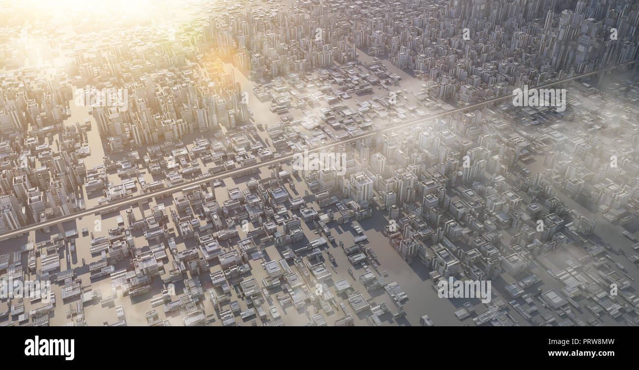 Aerial view of futuristic sci-fi city and commercial office building . 3d illustration rendering . - Stock Image